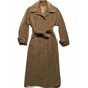 Vintage Cashmere Belted Trench Coat Camel Tan Sm